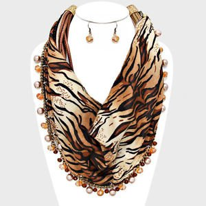 Brown Tiger Animal Print Scarf Necklace Set Pearls Stones Faux Leather Cords