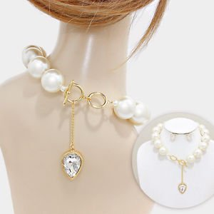 Reversible Chunky Pearl Crystal Backdrop Necklace Set Womens Fashion Jewelry