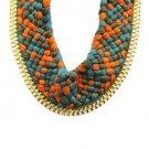 Unique Multi Color Crochet Braid Thread Necklace Bib Box Chain Statement