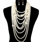The Lady Cream Chunky Long Dangle Drop Pearl Necklace Set Statement Jewelry