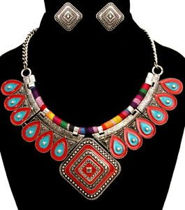 Tribal Multi Color Metal Thread Rope Burnished Silver Pendant Necklace Statement