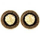 Small Round Gold Plated Lion Head Earrings with Greek Key Pattern Fashion Jewelr