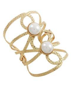 "Swirl Wide Cuff Pearl Bracelet Bangle Adjustable Cream Fashion Jewelry 3.75"""