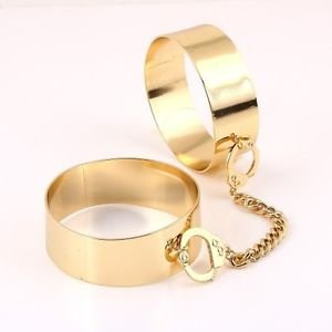Gold Double Handcuff Bracelets Dangle Chain Link Bangles Trendy Fashion Jewelry
