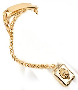 Gold Leo Lion Head ID Plate Bracelet Attached Ring Trendy Fashion Jewelry Judah