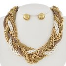 Braided Gold Chain Necklace Set Natural Color & Ivory Rope Cord Multi Strand