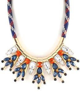 Fabric Cord Blue Orange Clear Stone Necklace Statement Fashion Jewelry Dangle