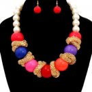 The Wyatt Multi Color Chunky Acrylic Beads & Mesh Chain Pearl Necklace Set