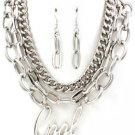 "Word ""Cool"" Pendant Silver Chain Multi Layer Statement Runway Fashion Jewelry"