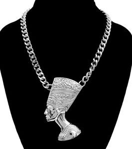 Big Bold Silver Plated Nefertiti Bust Pendant Curb Chain Necklace Egyptian Theme