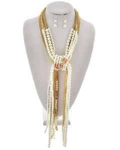 Gold Chain Wrap Peach Stone and Faux Pearl Necklace Earrings Set Fashion Jewelry