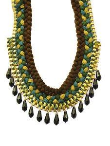 Dangle Beaded Multi Color Crochet Braid Thread Necklace Box Chain Statement