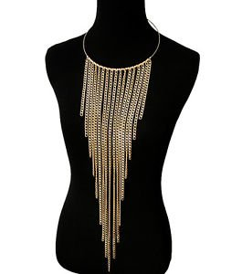 Gold Chain Tassel Chain Necklace Waist Length Statement Necklace Fashion Jewelry