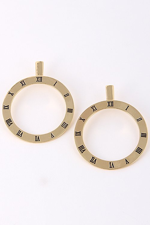 New Large Clock Earrings Gold Roman Numeral Statement Hoop Style 3.4 inches