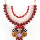 Red Yellow Purple Stone Necklace with Gold Chain Statement Fashion Jewelry
