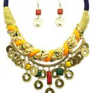 Statement Hammered Multi Color Braided Thread Rope Cord Choker Necklace Set
