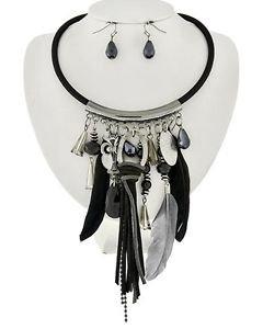 Black Cord Hematite Stone Feather Pendant Necklace Statement Choker Style