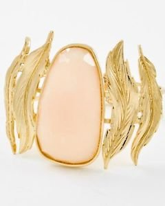 Oval Beige Acrylic Stone Foldover Bracelet Gold Plated Feather Design 2.75' Wide