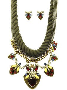 Olive OD Green Crochet Thread Rope Bohemian Style Necklace Set  Homaica Glass