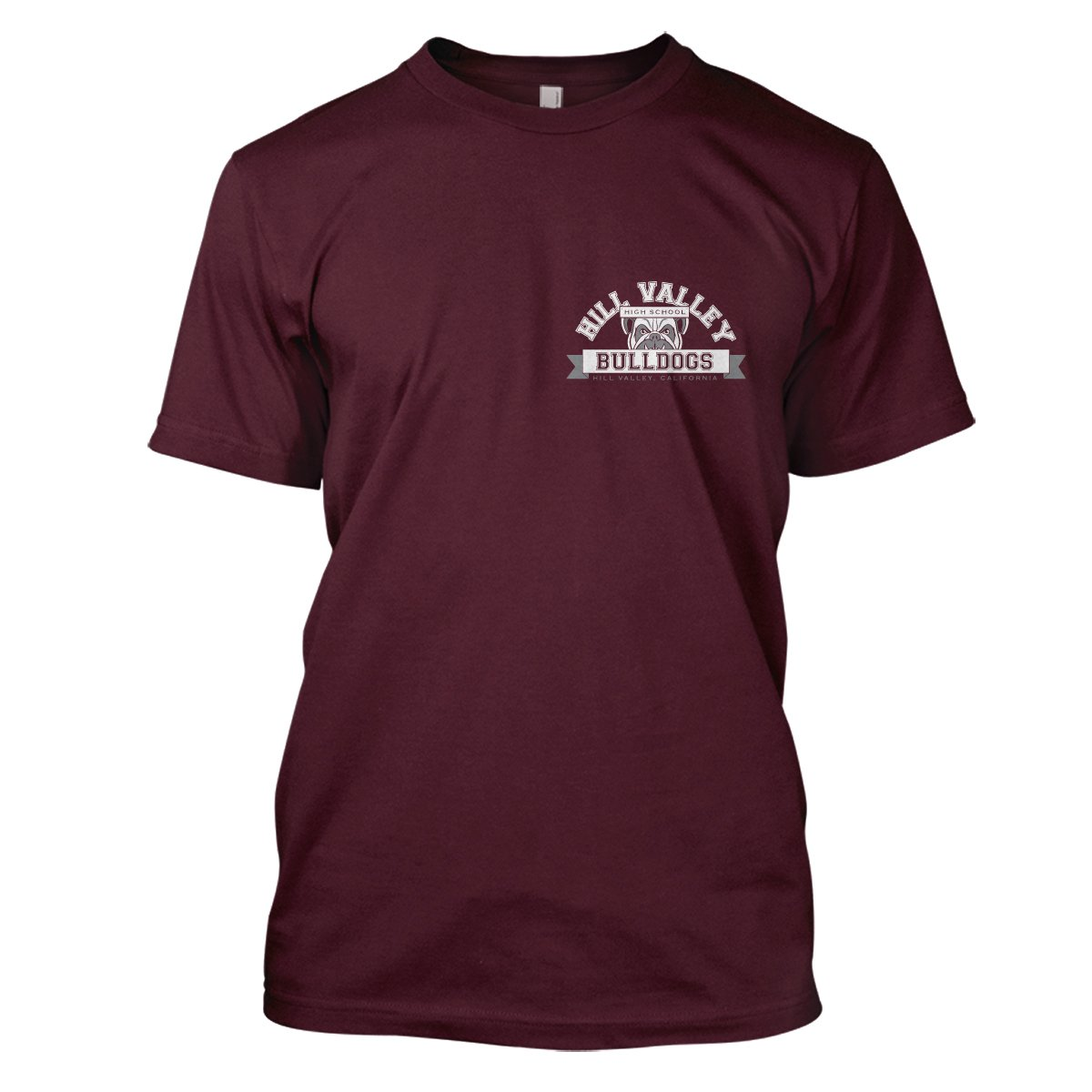 Back To The Future: Hill Valley Bulldogs Mens Movie T-Shirt Large Maroon