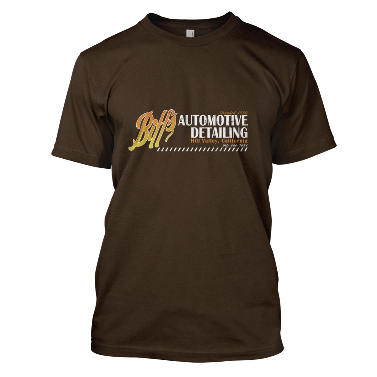 Back To The Future: Biff's Auto Detailing Mens Movie T-Shirt Large Brown