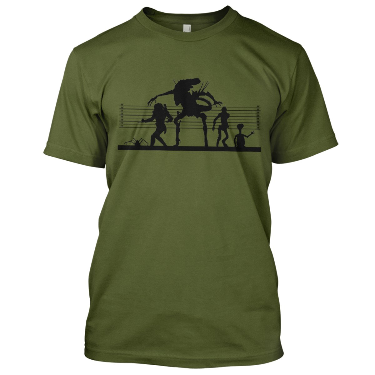 Alien Suspects Mens Movie T-Shirt Large Military Green