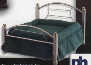 Dog Bed Platinum Frame, Green Cushion