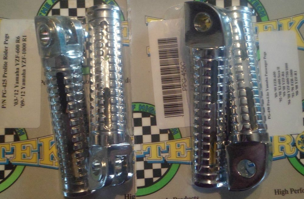 2006-2009 Yamaha YZF R6S Chrome Foot Pegs 2006 2007 2008 2009 YZF-R6S YZFR6S Pro-tek PG-425C PG-450C
