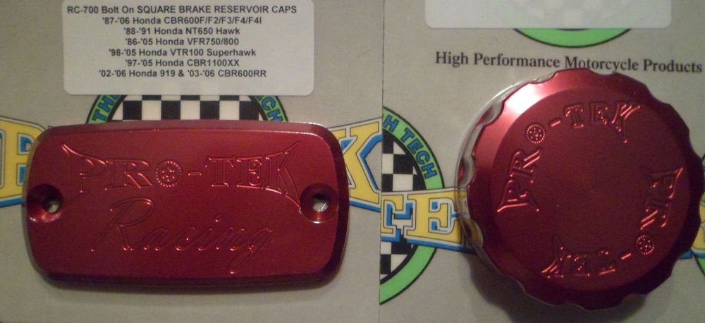 2001-2006 Honda CBR 600F4i Red Front Brake & Rear Brake Fluid Reservoir Caps Pro-tek RC-700R RC-100R
