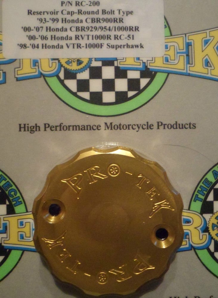 2000-2006 Honda RVT-1000R RC51 Gold Front Brake Fluid Reservoir Cap Pro-tek RC-200G