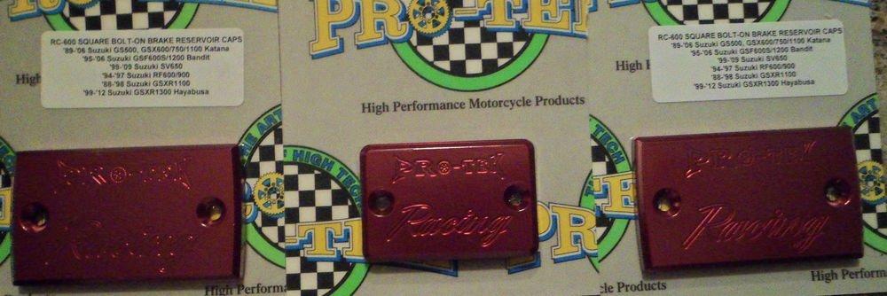 2008-2010 Suzuki Katana 650F Red Brake & Clutch Reservoir Caps GSX650F Pro-tek RC-600R RC-800R