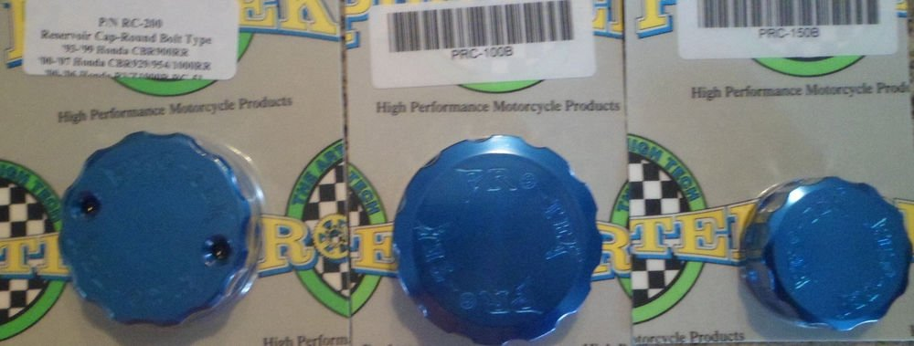 2000-2006 Honda RVT1000R RC51 Blue Brake & Clutch Reservoir Caps Pro-tek RC-200B RC-100B RC-150B
