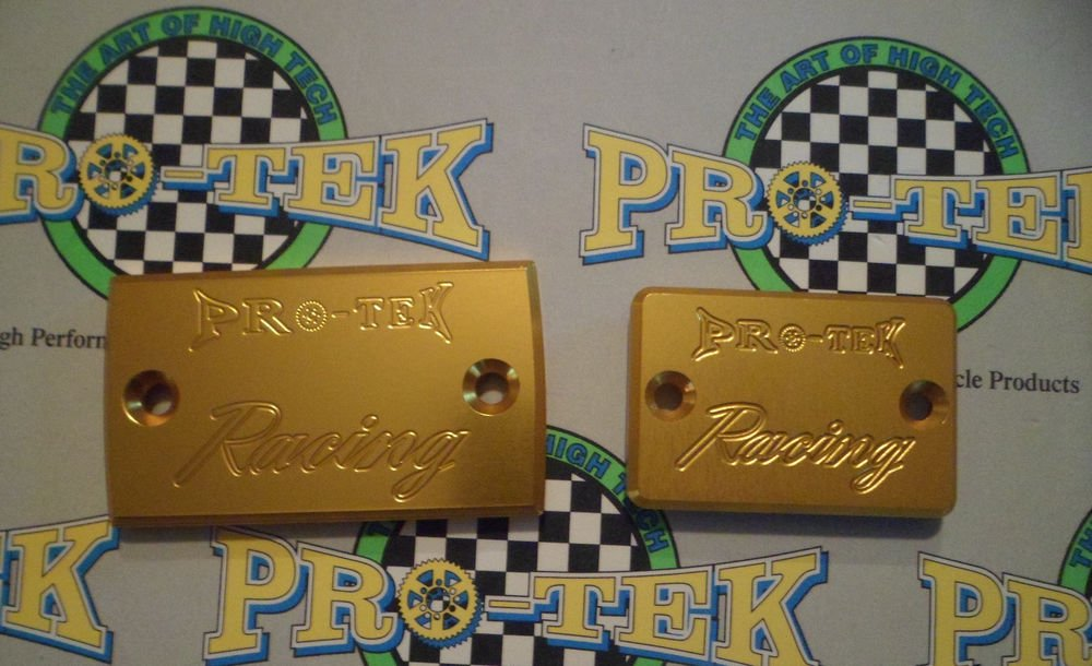 1988-1997 Suzuki Katana GSX600 Gold Front & Rear Brake Fluid Reservoir Caps Pro-tek RC-600G RC-800G