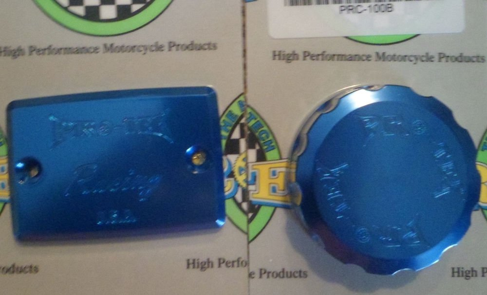 2000-2005 Kawasaki Ninja ZX12R Blue Front & Rear Brake Fluid Reservoir Caps Pro-tek RC-550B RC-100B
