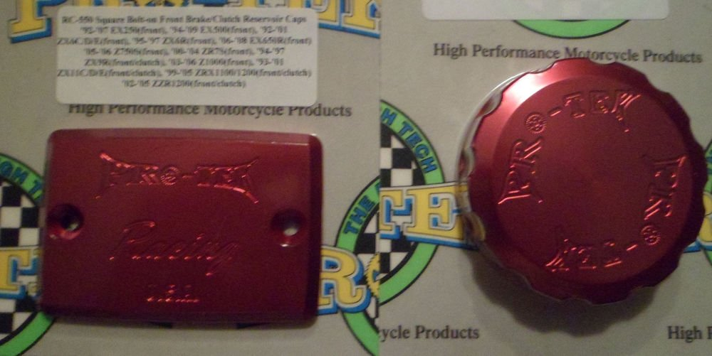 2000-2005 Kawasaki Ninja ZX-12R Red Front & Rear Brake Fluid Reservoir Caps Pro-tek RC-550R RC-100R