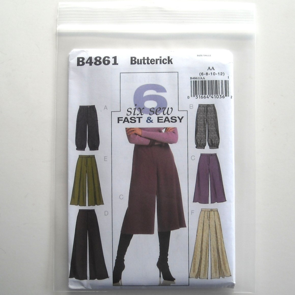 Butterick Pattern B4861 Size 6 - 12 6 Fast Easy Misses Pants and Gaucho Pants