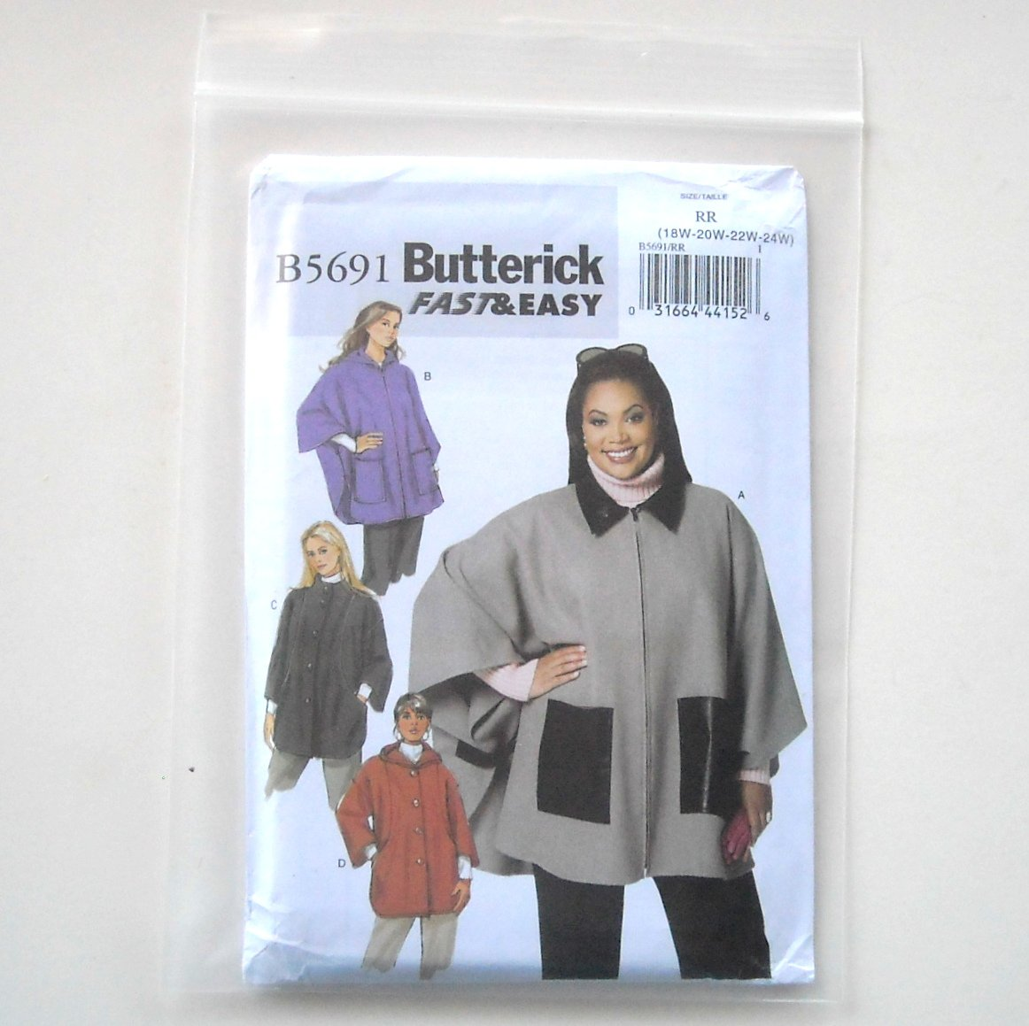 Butterick Pattern B5691 Size 18W - 24W Fast Easy Womens Cape and Jacket