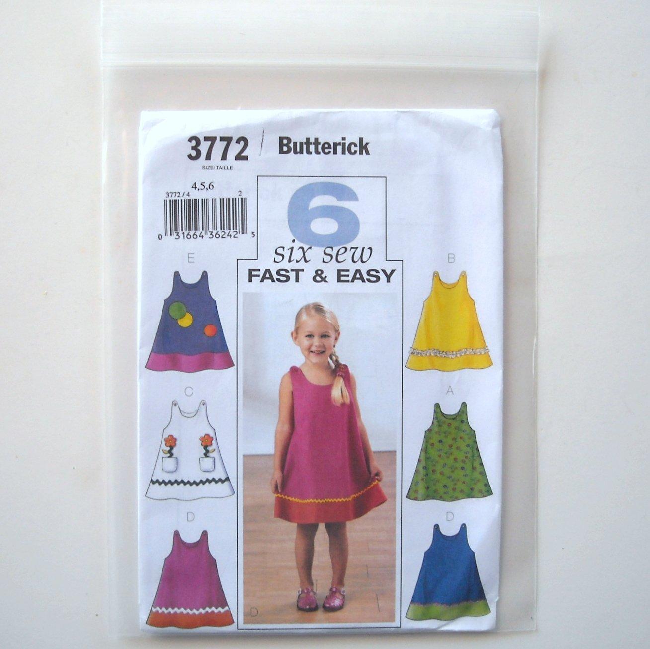 Butterick Pattern B3772 Size 4 - 6 Toddlers Childrens Girls Dress