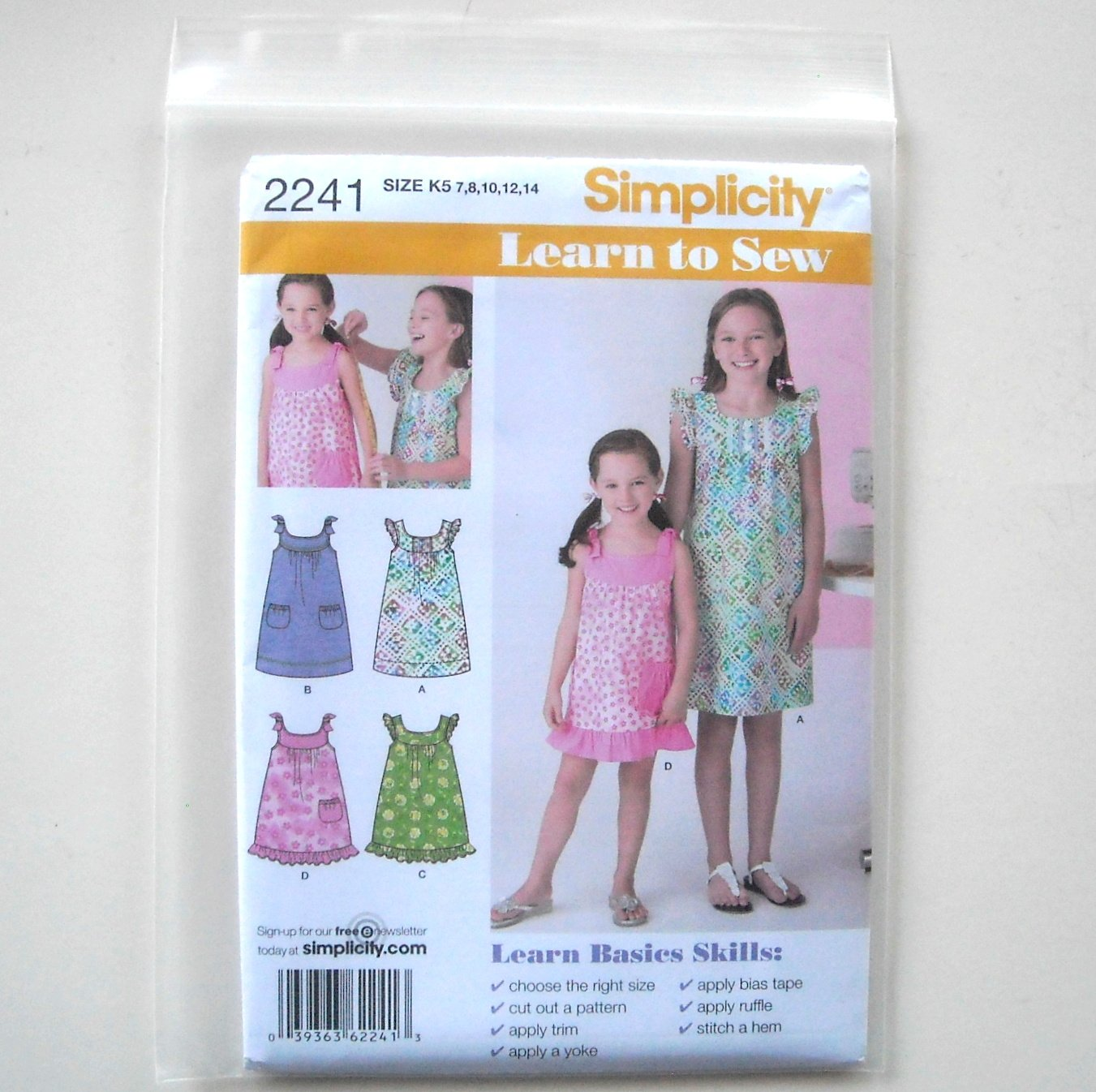 Childs & Girls Dresses 5 - 14 Learn to Sew Simplicity Sewing Pattern 2241