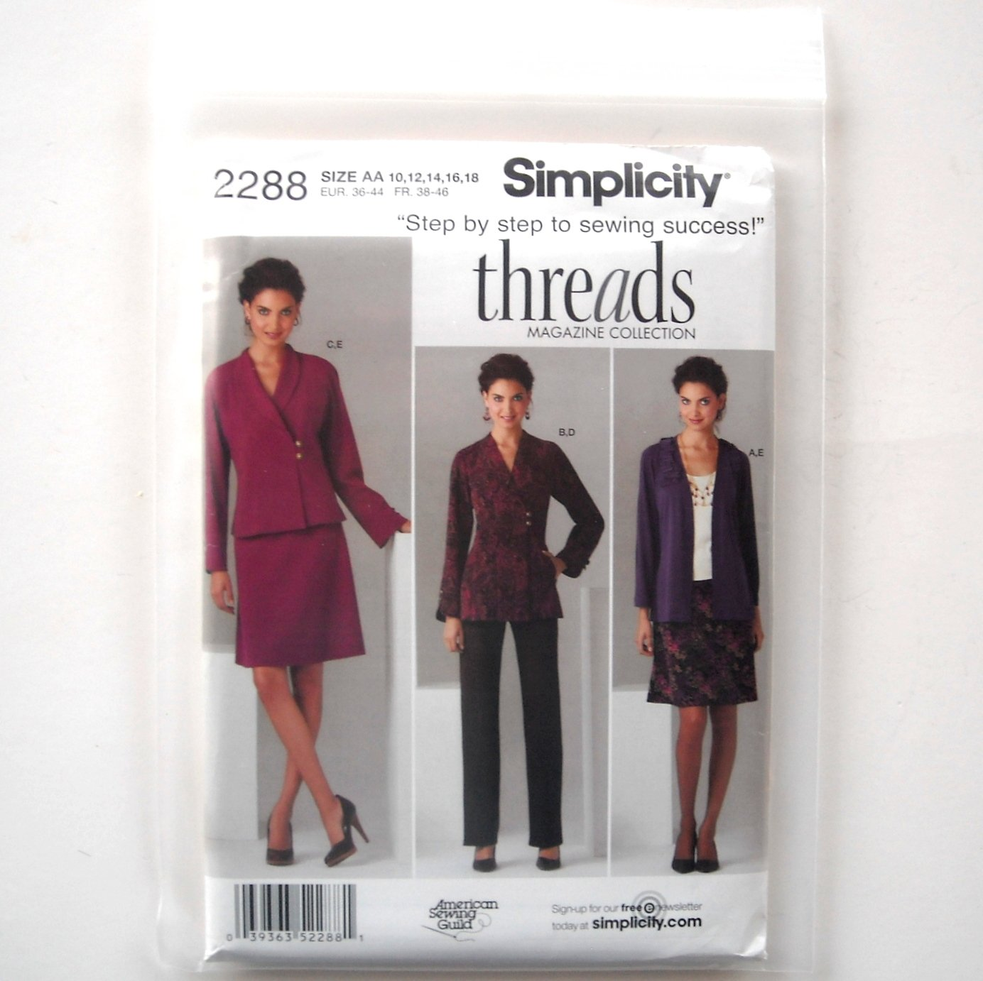 Simplicity Pattern 2288 Size 10 - 18 Threads American Sewing Guild Misses Plus Jacket Pants Skirt