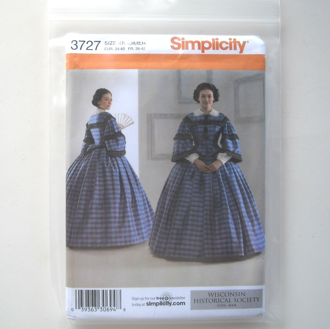 Simplicity Pattern 3727 Size 8 - 14 Wisconsin Historical Society Misses Cival War Dress Costumes