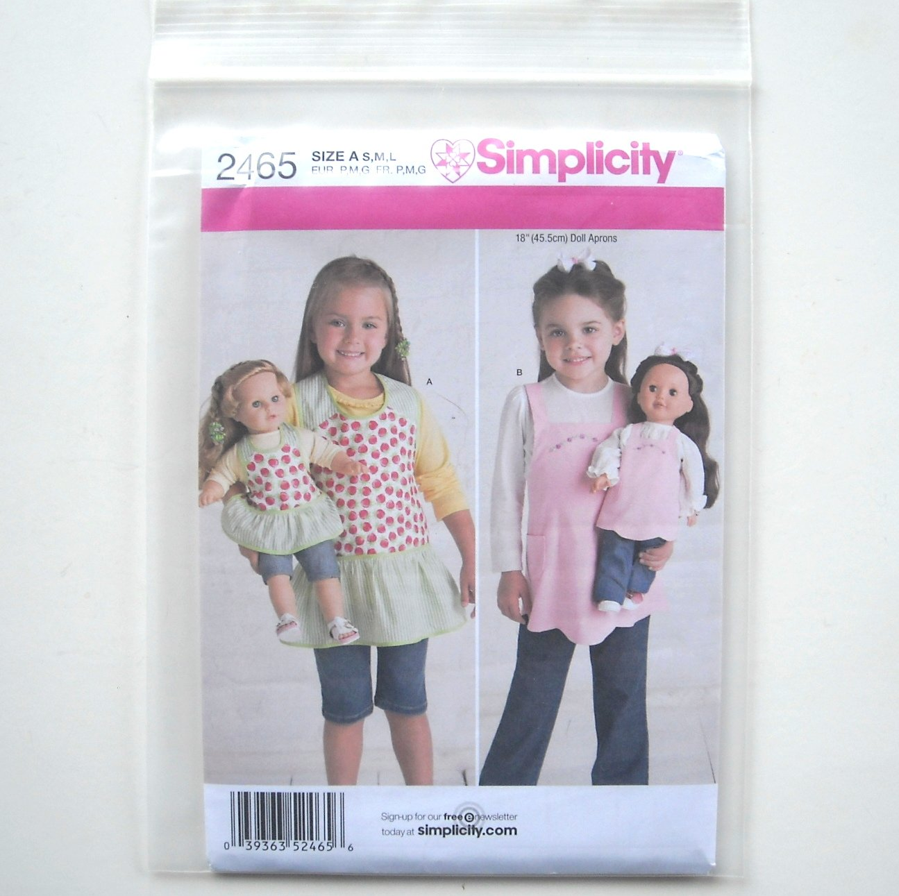"Vintage Style Aprons Girls 18"" Doll Size S - L Simplicity Pattern 2465"