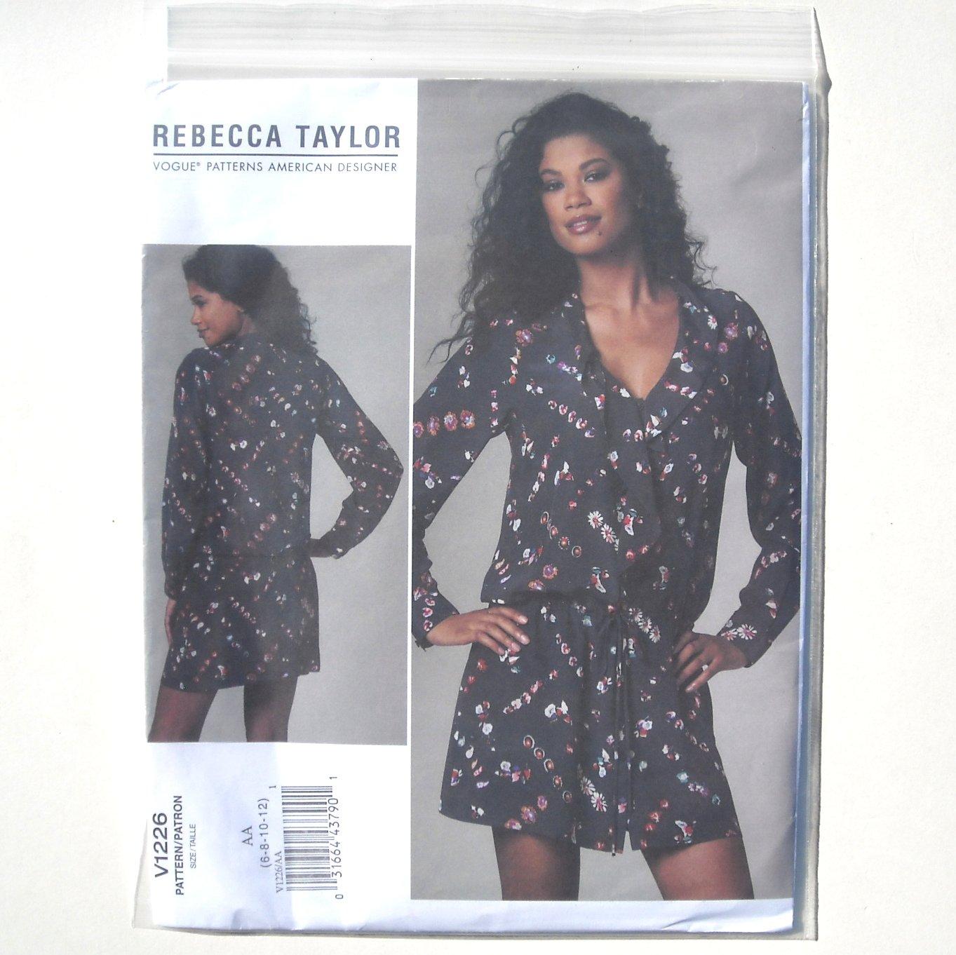 Vogue Designer Pattern V1226 Out Of Print Rebecca Taylor Size 6 - 12 Misses Dress