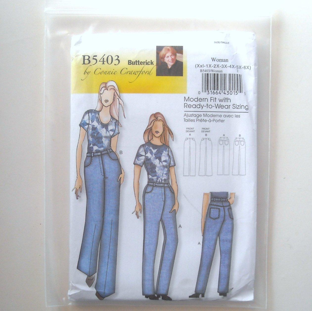 Butterick Pattern B5403 Connie Crawford Size XXL - 6X Womens Jeans
