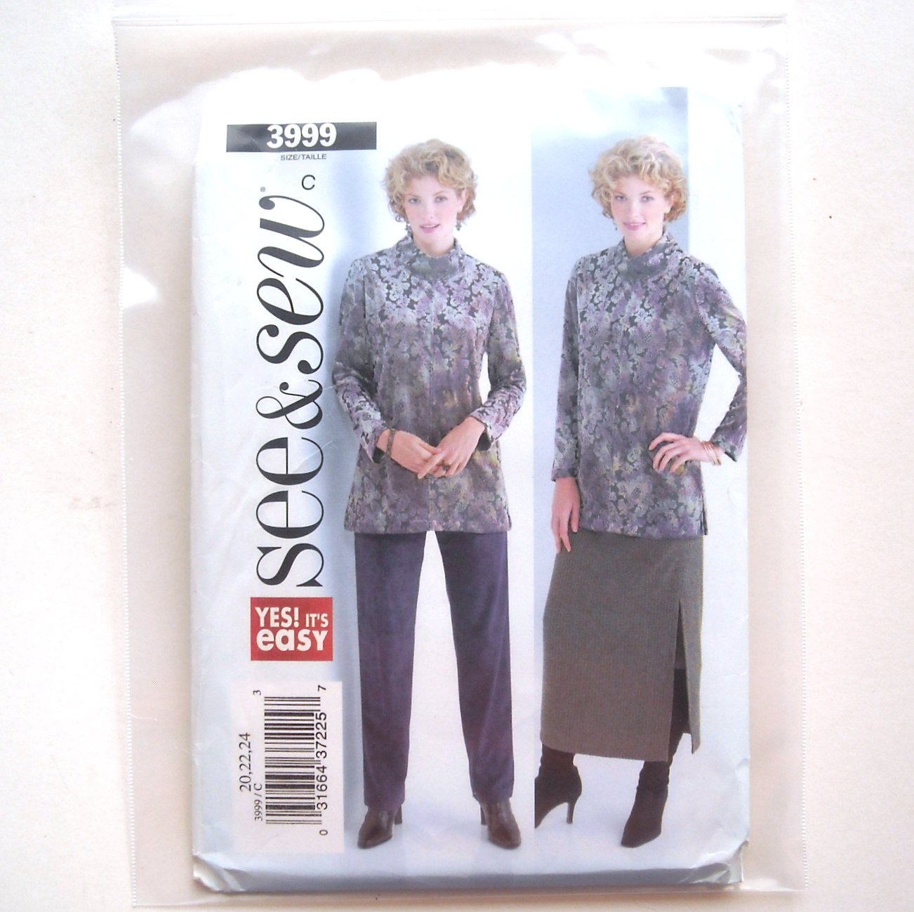 Misses Tunic Skirt Pants Size 20 - 24 See Sew Easy Pattern 3999