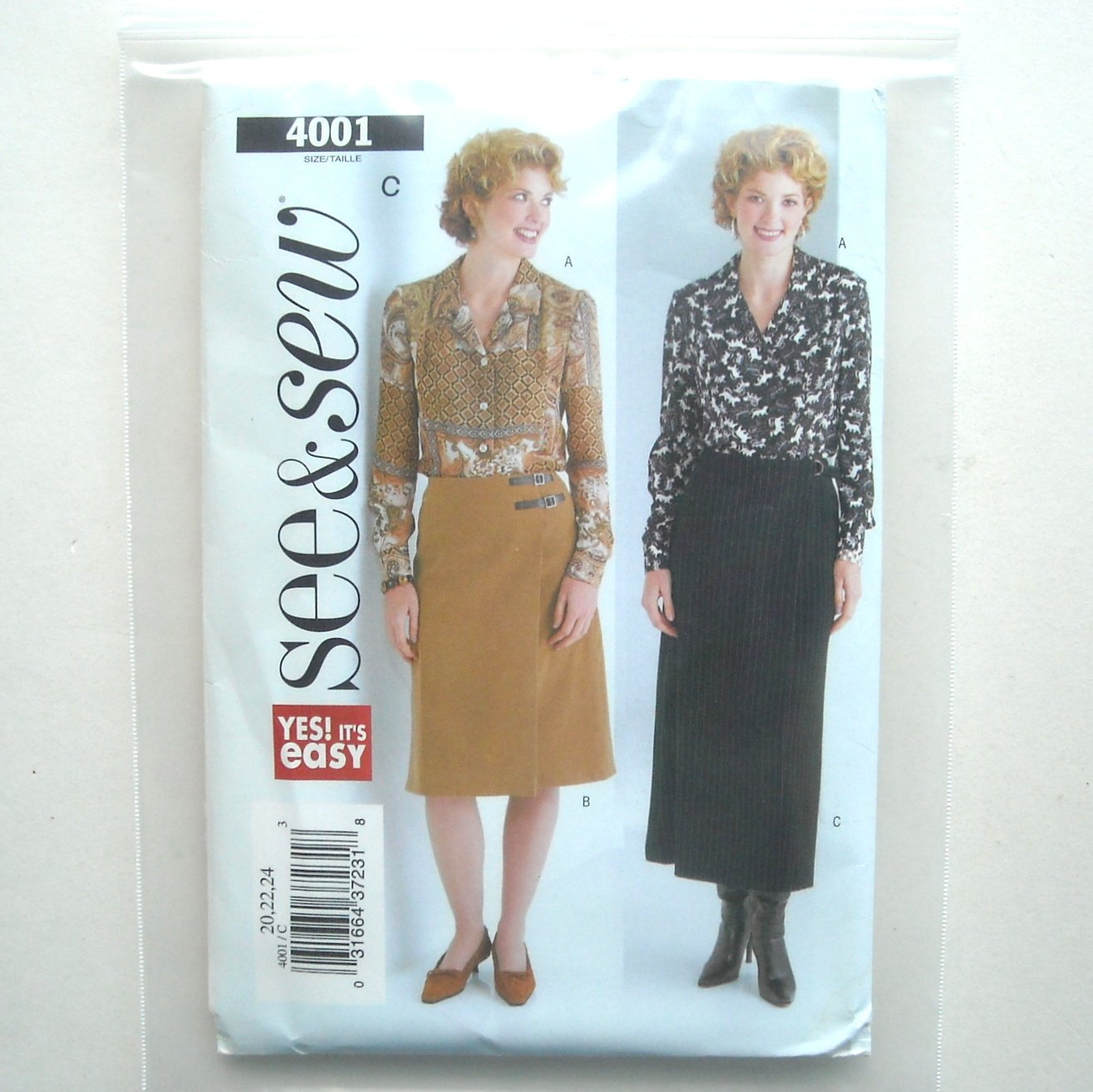 Misses Blouse Skirt Size 20 - 24 See Sew Pattern 4001