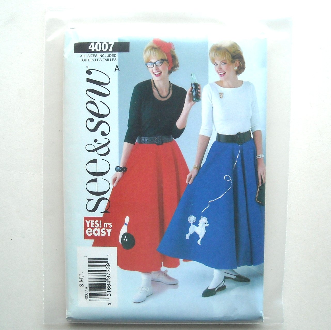 Misses Skirt Petticoat and Appliques Size S - L See and Sew Pattern 4007