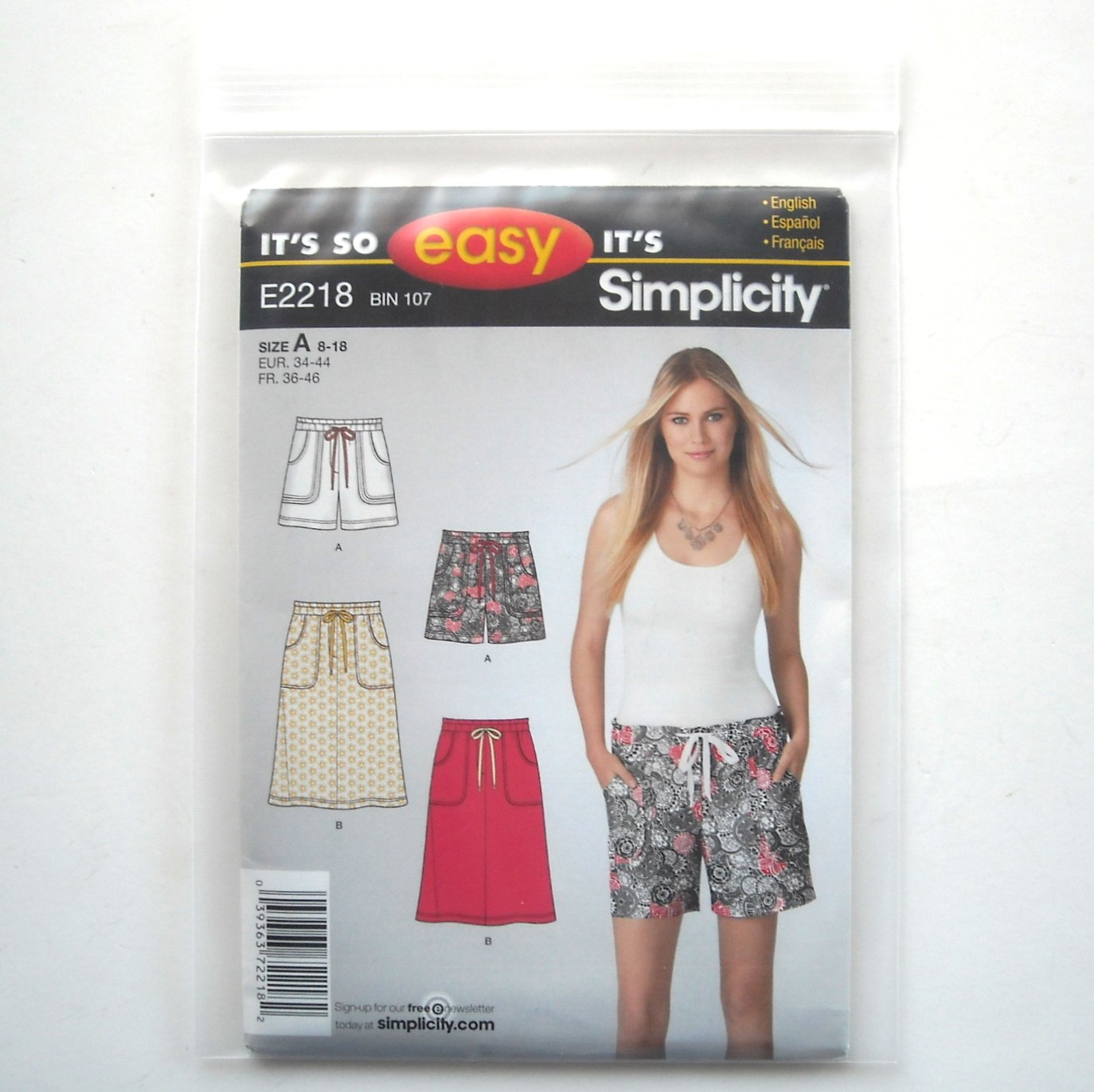 Misses Pull On Shorts Skirt 8 10 12 14 16 18 So Easy Simplicity Pattern E2218