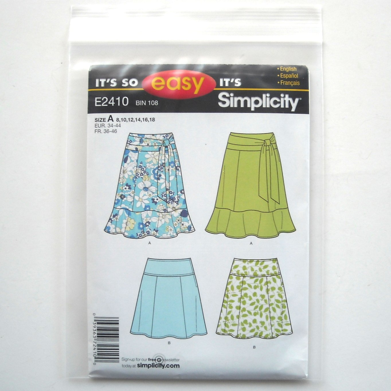 Misses Miss Petite Skirt 8 10 12 14 16 18 So Easy Simplicity Pattern E2410