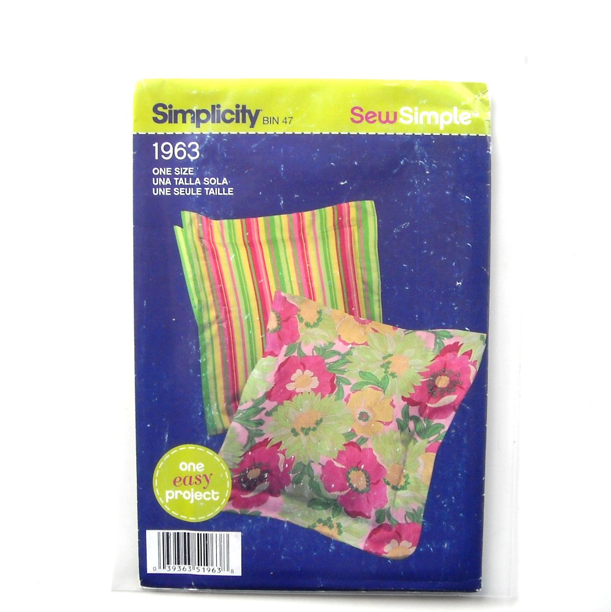 Square Pillow One Size Sew Easy Project Simplicity Pattern 1963